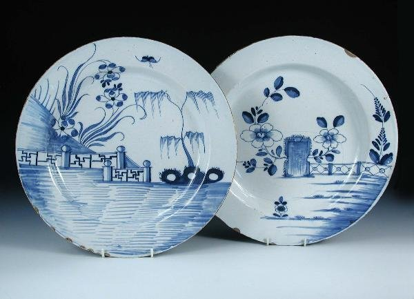 3: TWO 18TH CENTURY ENGLISH DELFT CHARGERS