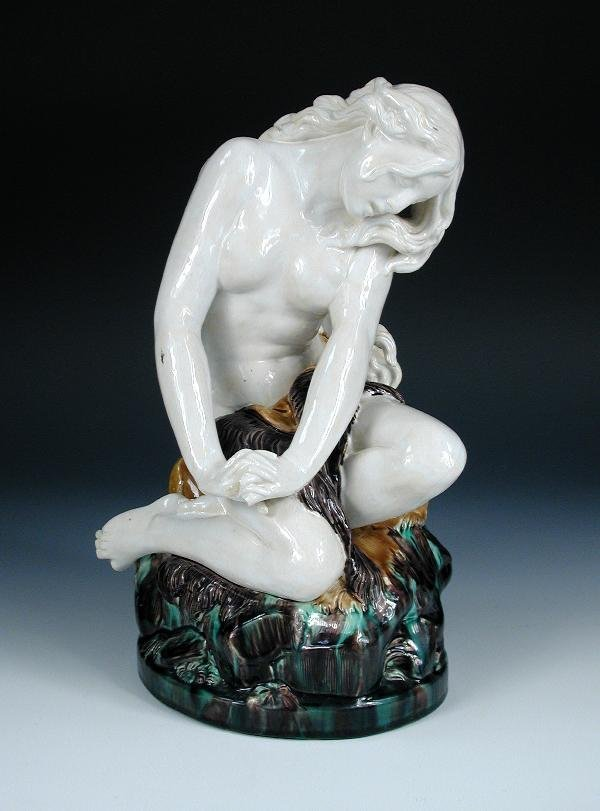 8: MINTON MAJOLICA MODEL OF A NAKED GIRL WITH LONG