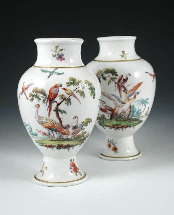55: ATTRIBUTED TO CHELSEA, PAIR OF VASES