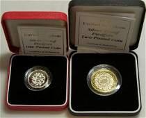 276: SILVER PROOF 1997 PIEDFORT £2 & £1, CASED