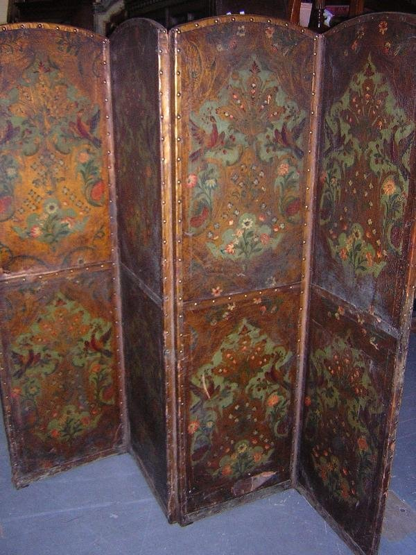 865: A DUTCH DECORATED LEATHER FOUR FOLD SCREEN