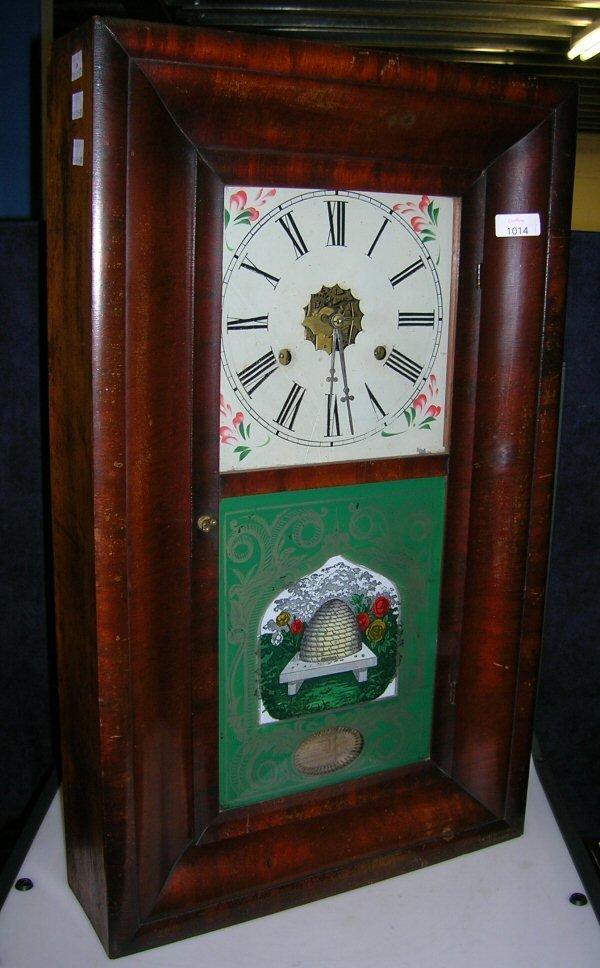 1014: A JEROME (USA) MAHOGANY OGEE SHELF CLOCK