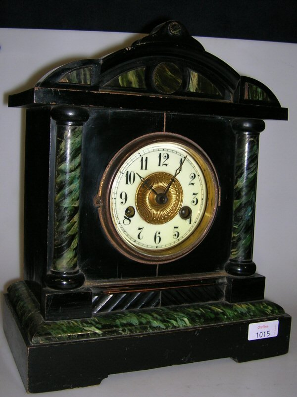 1015: A PAINTED WOOD LATE VICTORIAN MANTEL CLOCK