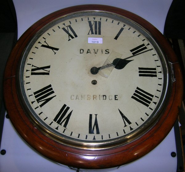 1019: A LATE VICTORIAN MAHOGANY FUSEE WALL TIMEPIECE
