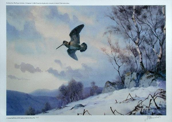 1002: AFTER J C HARRISON  WOODCOCK IN SNOW