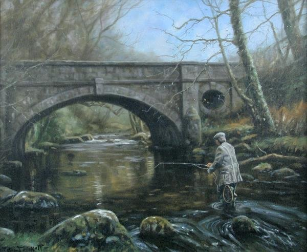 1021: JOHN TRICKETT (20TH CENTURY)  CASTING UP RIVER