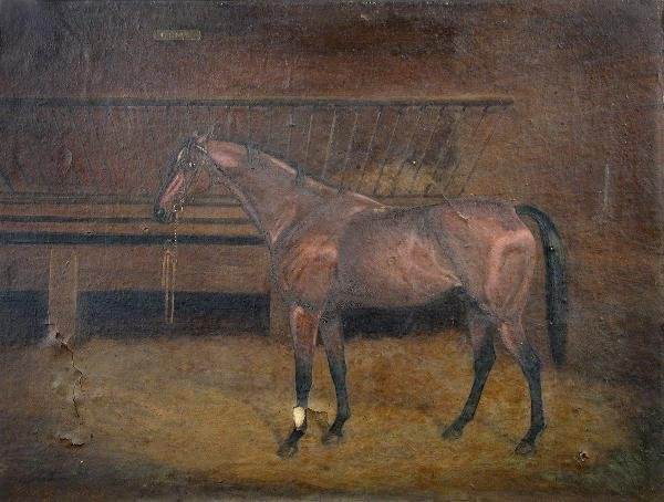 """1029: WILLIAM BROWNE  """"ORME"""" RACEHORSE IN A STABLE"""