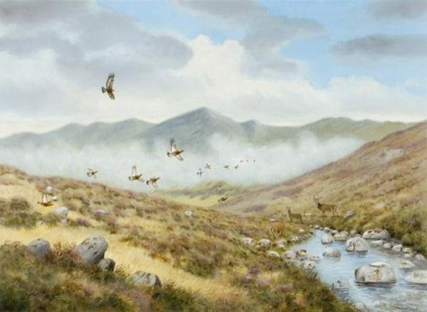 1034: RICHARD ROBJENT  GROUSE DISTURBED BY A GOLDEN EAG