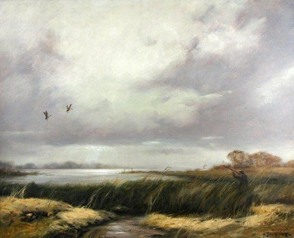 1027: JOHN TRICKETT WILDFOWLING OIL ON CANVAS