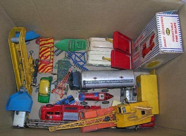 2023: TWO BOXES OF VARIOUS PLAYWORN AND DAMAGED DINKY,