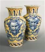 A pair of large 19th century yellow ground Talavera