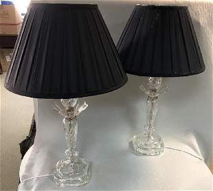 A pair of cut glass table lamps