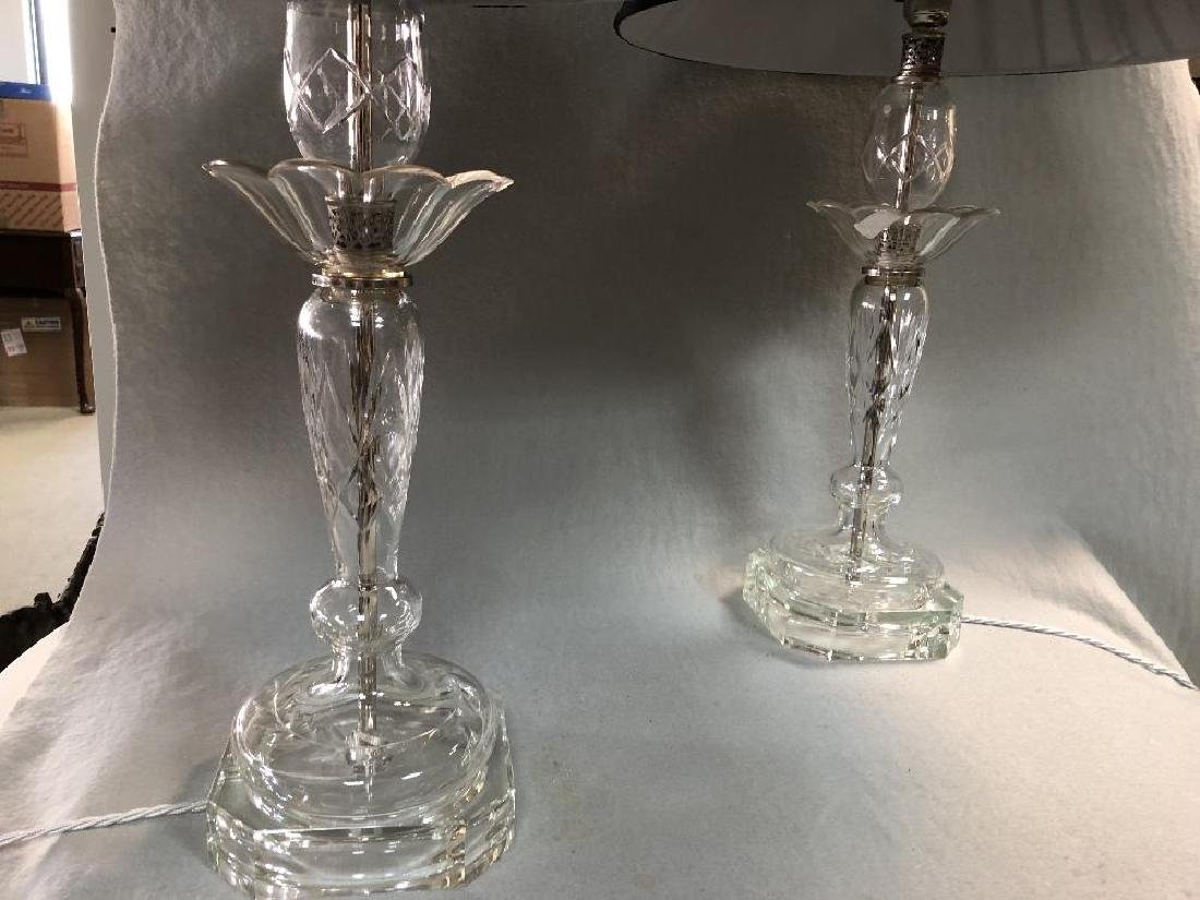 A pair of cut glass table lamps, - 2