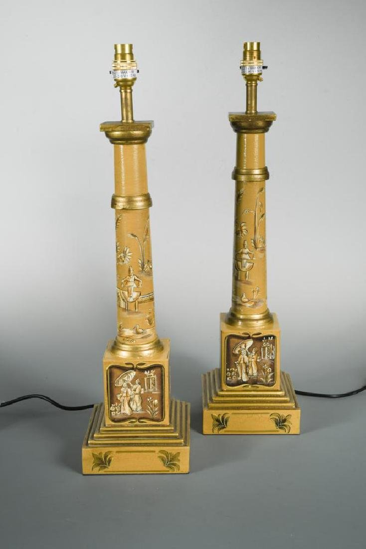 A pair of modern toleware column table lamps,