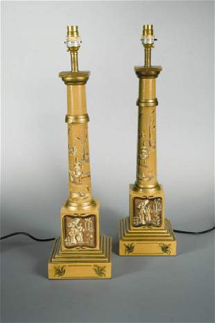 A pair of modern toleware column table lamps