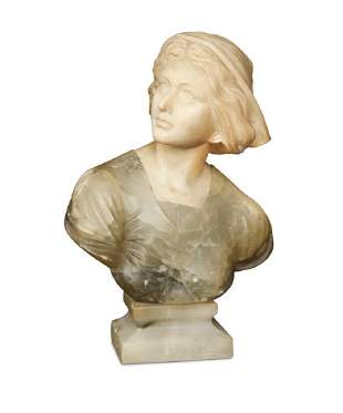 A late 19th century marble and alabaster bust of a