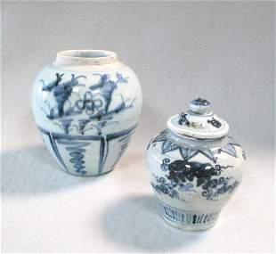 Two blue and white provincial Ming dynasty jars