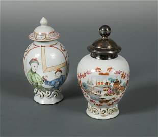 Two famille rose tea caddies circa 17301740