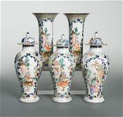 Five famille rose and blue and white vases late 18th