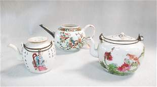 Three Qing dynasty and early republic tea pots