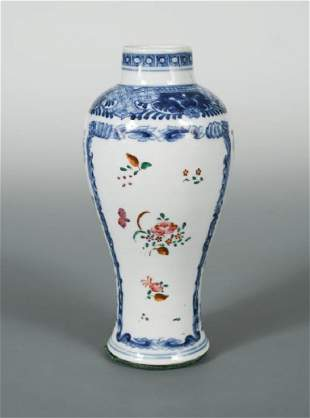 A famille rose and blue and white vase 18th19th
