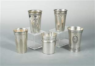 A collection of five Swiss metalwares tumblers