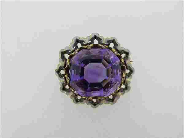 A French 19th century amethyst, diamond and enamel