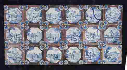 A set of twenty-five 18th century Delft tiles,