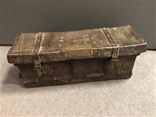 An early 19th century leather covered rectangular case