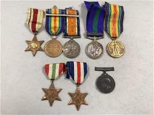 Eight various Great War and Second World War medals
