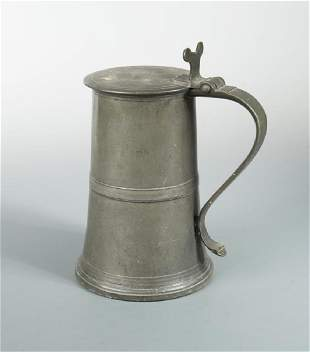 An 18th century Scottish pewter lidded flagon by Robert