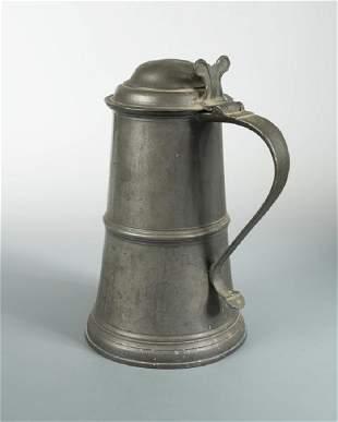 A large 18th century Scottish pewter lidded tankard