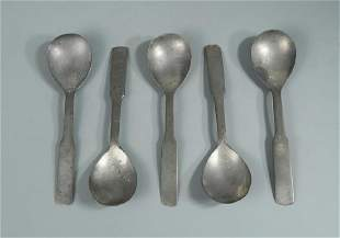 A set of five pewter spoons
