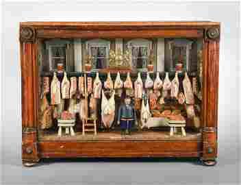 A Victorian butcher`s shop-front model diorama,