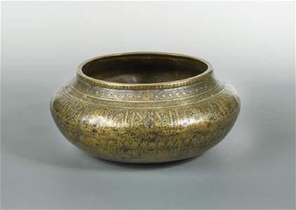 A good brass Fars bowl, Iran, probably 14th century,