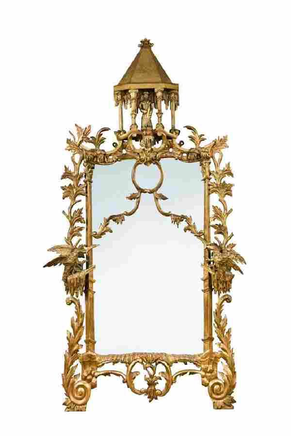 A Rococo revival gilt wood framed pier glass,