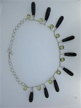 A modern fringe necklace of lemon citrine and onyx