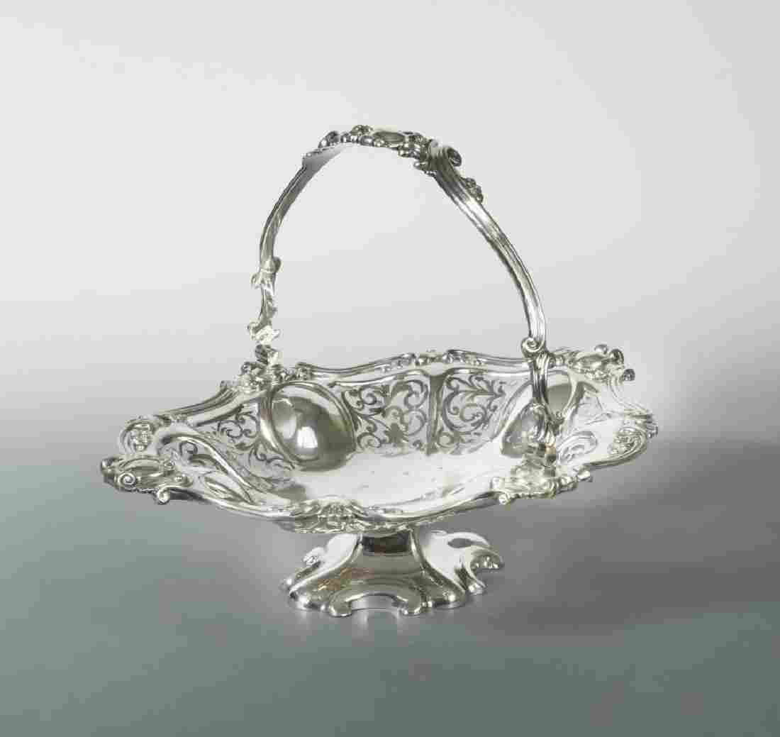 A Victorian silver plated swing handled bread basket,