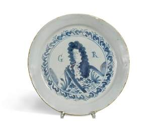 A Delft blue and white Royal Portrait plate, probably