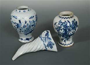 A Delft blue and white cornucopia wall pocket,