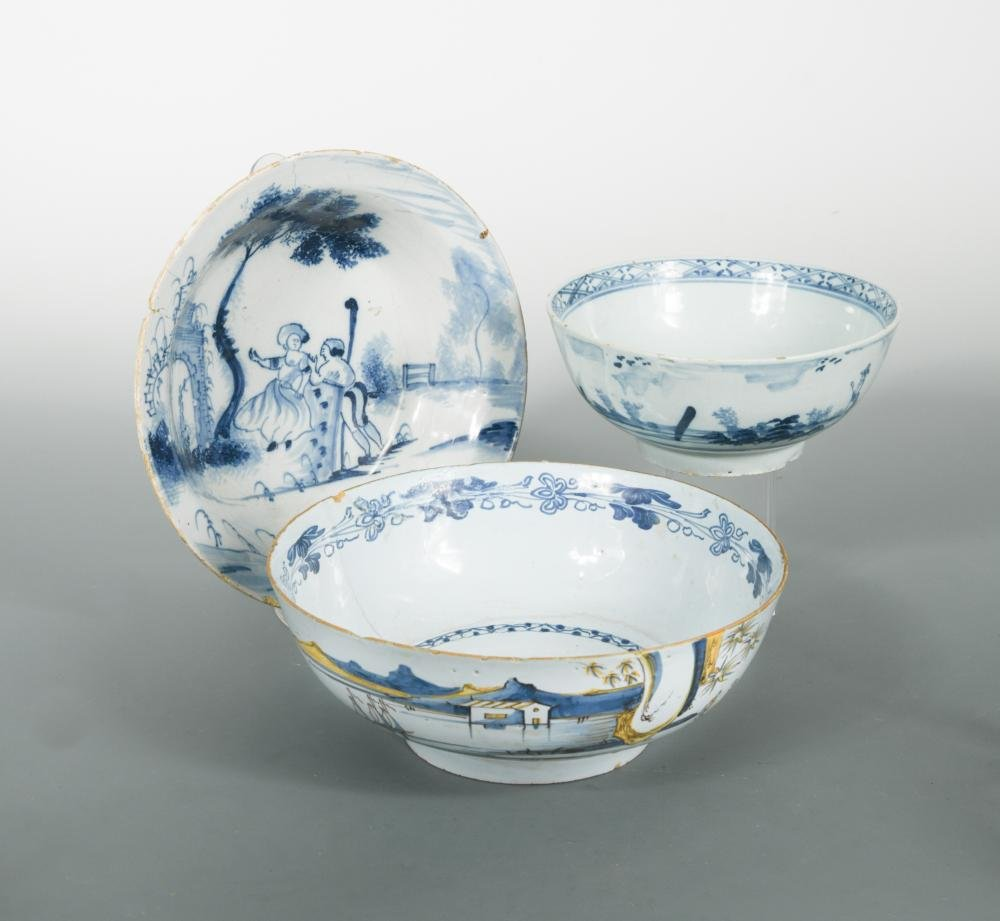 A London Delft blue and white shallow bowl, probably