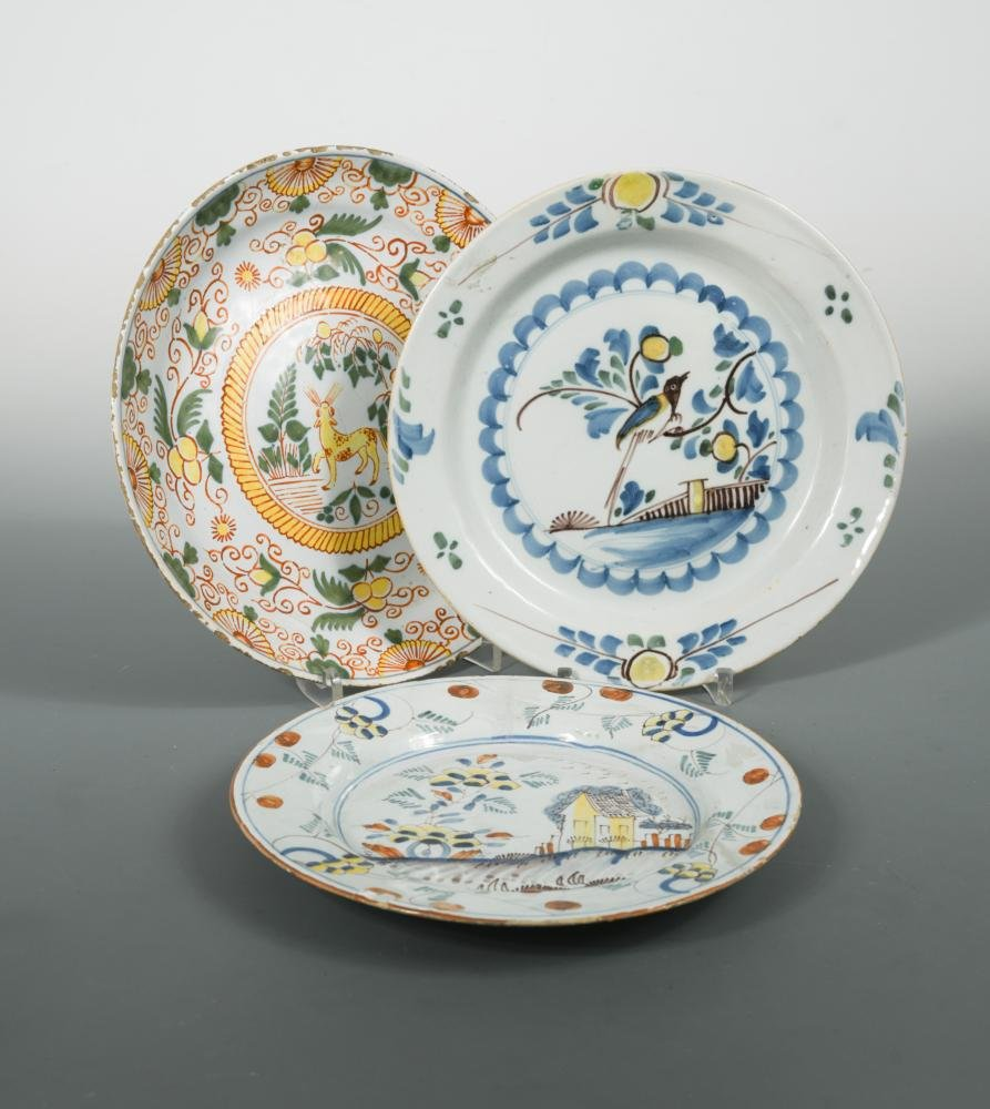 A Delft polychrome plate, probably Liverpool,
