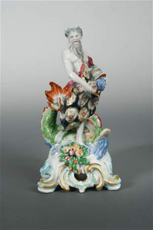 An 18th century Bow figure of Neptune, circa 1755-60,