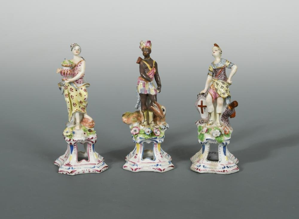 A rare set of three Bow female figures from the 'Four
