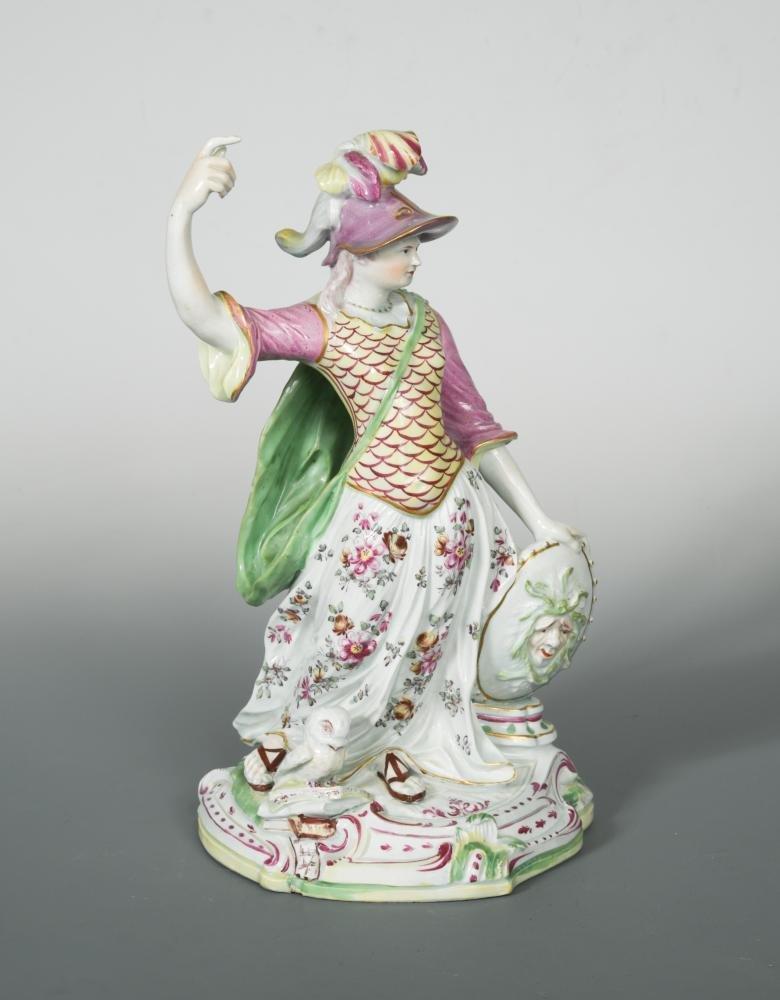 A large Derby figure of Minerva, circa 1765,