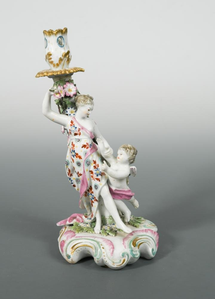 A Derby Patch Mark figural candlestick of 'Venus with