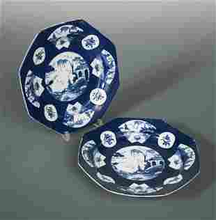 A pair of Bow blue octagonal plates, circa 1770,