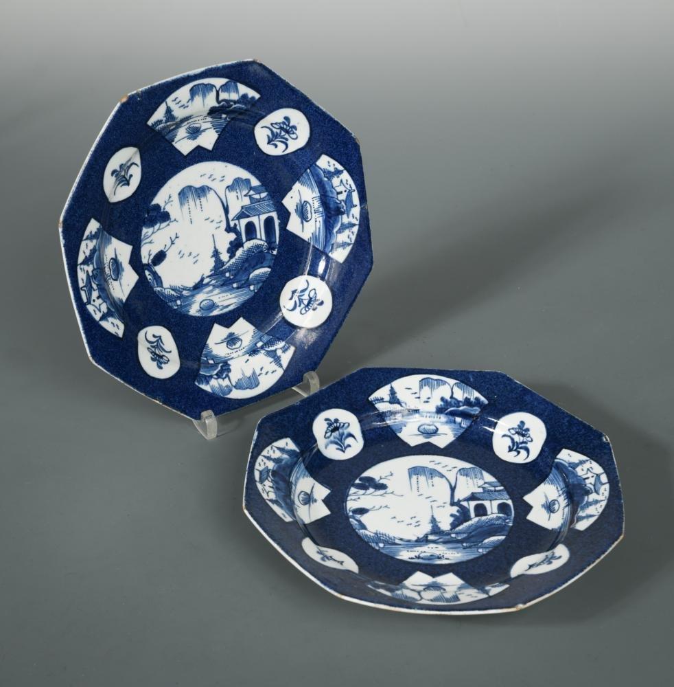 A pair of Bow blue octagonal plates, circa 1770,