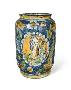 A large Venetian maiolica albarello, late 16th century,