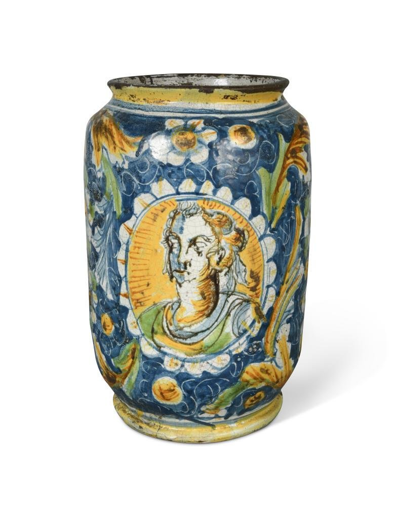 A large Venetian maiolica albarello, late 16th century,